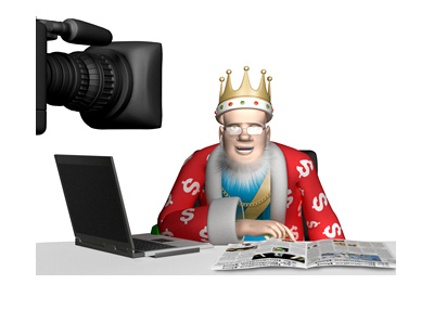 The King is on camera in his studio.  The expression on his face is the blank stare.  Reading glasses on.
