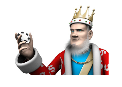 The King is spinning a casino chip in his hand.