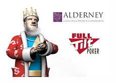 The King next to the Alderney Gambling Control Commission and Full Tilt Poker logos