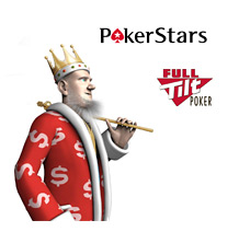 The King next to Pokerstars and Full Tilt logos