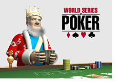 -- The King playing poker and the WSOP logo in the background --