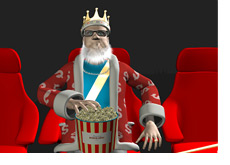 The King is in the movie theatre eating popcorn - commenting on the performance of Niki Jedlicka