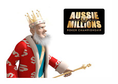 King Standing Next to the Aussie MIllions Logo
