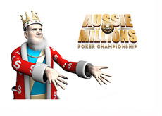 King is presenting the Aussie Millions - Logo on White Background
