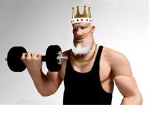 The King in a black wife beater doing some bicep curls