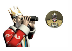 The King is looking through binoculars at the next FTOPS event