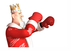 The King with his guard up, wearing boxing gloves