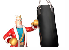 -- The King punching a boxing bag --