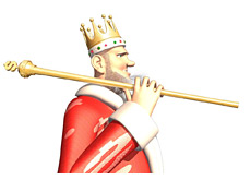 -- Poker King with the gold cane over his shoulder --