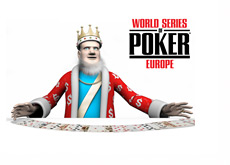 King with a deck of cards spread out on the table - WSOPE logo