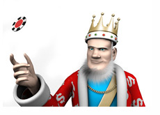 The King is throwing a poker chip in the air