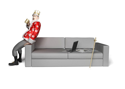 The Poker King is leaning on the couch and having a sip of coffee while discussing the possibility of the sequel for the movie Rounders