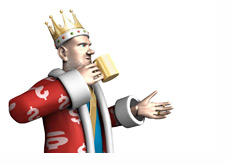The King is drinking his coffee and talking about the latest developments in the poker world