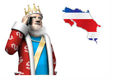 Poker King next to the Costa Rica flag in shape of the country