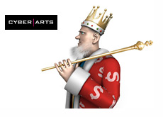 King standing next to the Cyber Arts logo