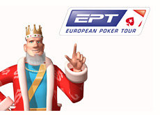 king pointing to the ept logo - european poker tour