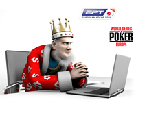 The King is focused on his computer - reporting latest news from EPT and WSOPE