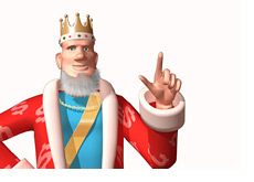 The King is making a point - Finger up in the air