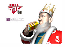 The King next to the Full Tilt Poker and Alderney Gambling Control Commission logos, drinking fruit juice