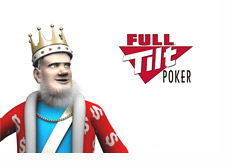 The King is looking over to the Full Tilt Poker Logo