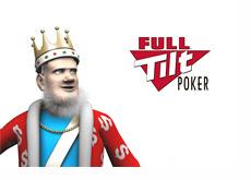 The King is looking over to the Full Tilt Poker Logo