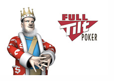 The King stretching next to the Full Tilt Poker logo
