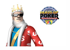 The King next to the Heads Up Poker Championship Logo