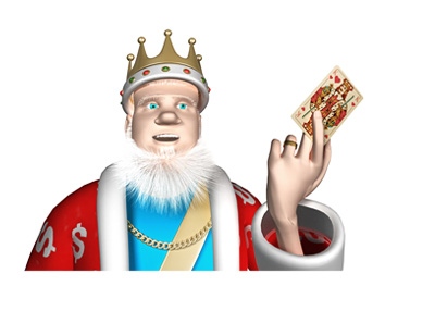 The King is holding a card - King of Hearts - in his hand