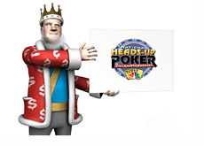 The King is holding the National Heads-Up Poker Championship Logo