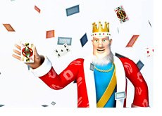 The cards are everywhere - In the air - The King is holding the king card