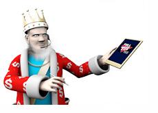 The King is surfing the Full Tilt Poker website on his tablet