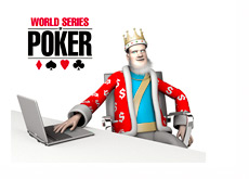 The King is on his laptop reporting the news from the World Series of Poker (WSOP)