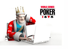 The King is on the laptop reporting the latest news from the World Series of Poker