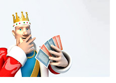The King is looking at the cards he was dealt