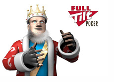 The King wearing mma gloves next to the Full Tilt Poker logo