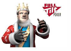 The King wearing mma gloves next to the Full Tilt Poker logo