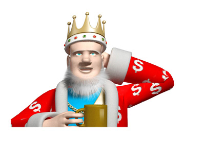 The King is enjoying his morning coffee while scratching his head at the news of a recent defrauding attempt
