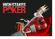 King is watching High Stakes Poker in his theatre while eating popcorn