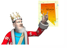 The King is pointing to the map of state of Nevada