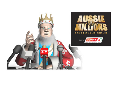 The King is holding a news conference, announcing the winner of the 2016 Aussie Millions poker tournament