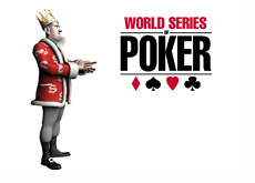 The King is standing next to the WSOP (World Series of Poker) logo - Reporting on the final event