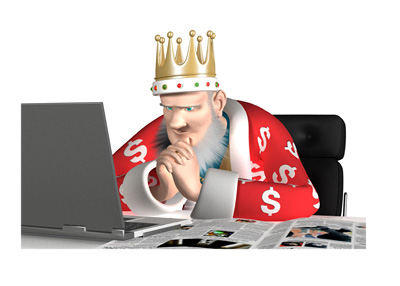 The King is researching the news about Sheldon Adelson and Donald Trump teaming up.  The King is deep in thought to say the least.