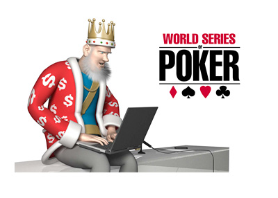 The King is going over the most recent news from the World Series of Poker (WSOP) tournament, while sitting on his desk and looking down over the laptop.