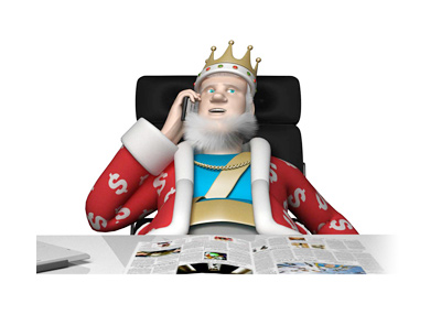 The King is sitting in his office, on the cellphone, receiving the latest news about the lawsuit between Phil Ivey and Crockfords Casino.