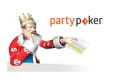 The King is reading the latest news.  Party Poker eliminates withdrawal fees.
