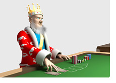 -- The King at the poker table - flipping a card --