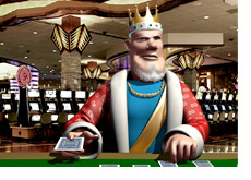 The King is playing poker in a Las Vegas casino