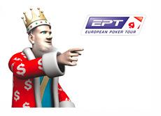 The King is pointing towards the European Poker Tour (EPT) logo