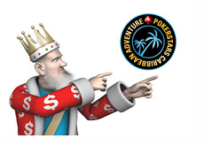 The King is pointing towards the Pokerstars Caribbean Adventure - PCA - Logo