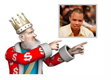 The King is pointing towards Phil Ivey - Winner of 9th WSOP Bracelet